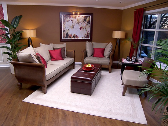 Modern-living-room-Feng-Shui-style-living-room-with-sofa-set-lamps-picture-and-flowers