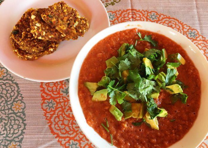 raw vegan chili and cornbread